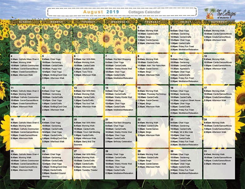 August 2019 Calendar of Events Download - The Cottages of